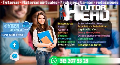 tutorias, trabajos, redaccion, tesis, materias virtuales, et