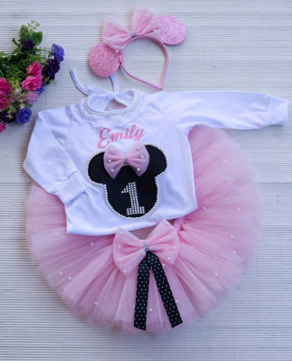 Tutu Cumpleaños Minnie Bebe Nena Fiesta - $ 1.350,00 en Mercado Libre