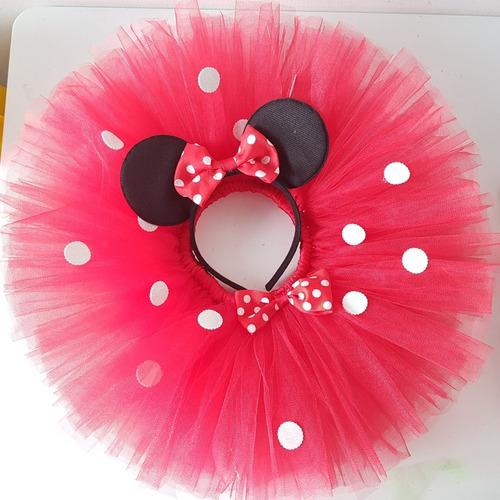 tutu falda tul rojo o rosa con orejitas. tallas 0 a 3 años.