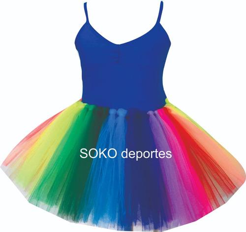 tutu multicolor arco iris o  brilloso danza ballet