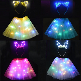 Tutu Pollera Luminosa Led Cotillon Princesa Disfraz Colores