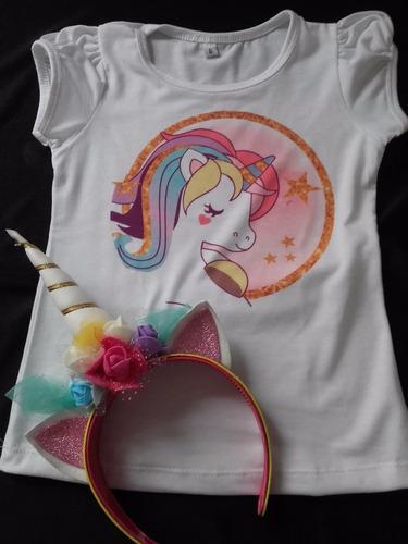 tutu, remera vincha unicornio disfraz cotillon g  t10-12-14