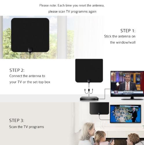 tv 50 millas gama plana hd digital interior amplificada ante