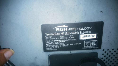 tv bgh feelnology 46  para reparar display