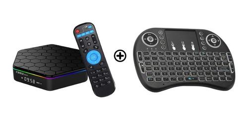 tv box 4k 2gb ram 16gb octa core android + control + teclado