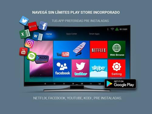 tv box convertidor smart tv 4k 1gb ram android + teclado inalambrico tactil gadnic