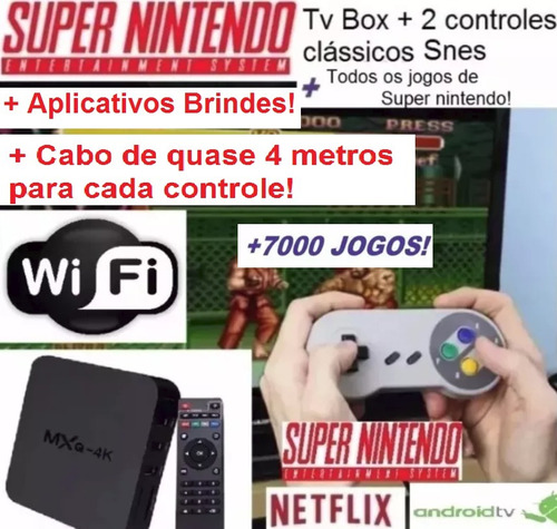 tv box + emulador super nintendo classic snes + 2 ext;