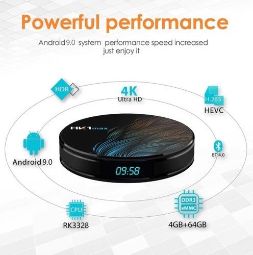tv box hk1 max  black 4gb + 64gb android 9.0 + teclado i8