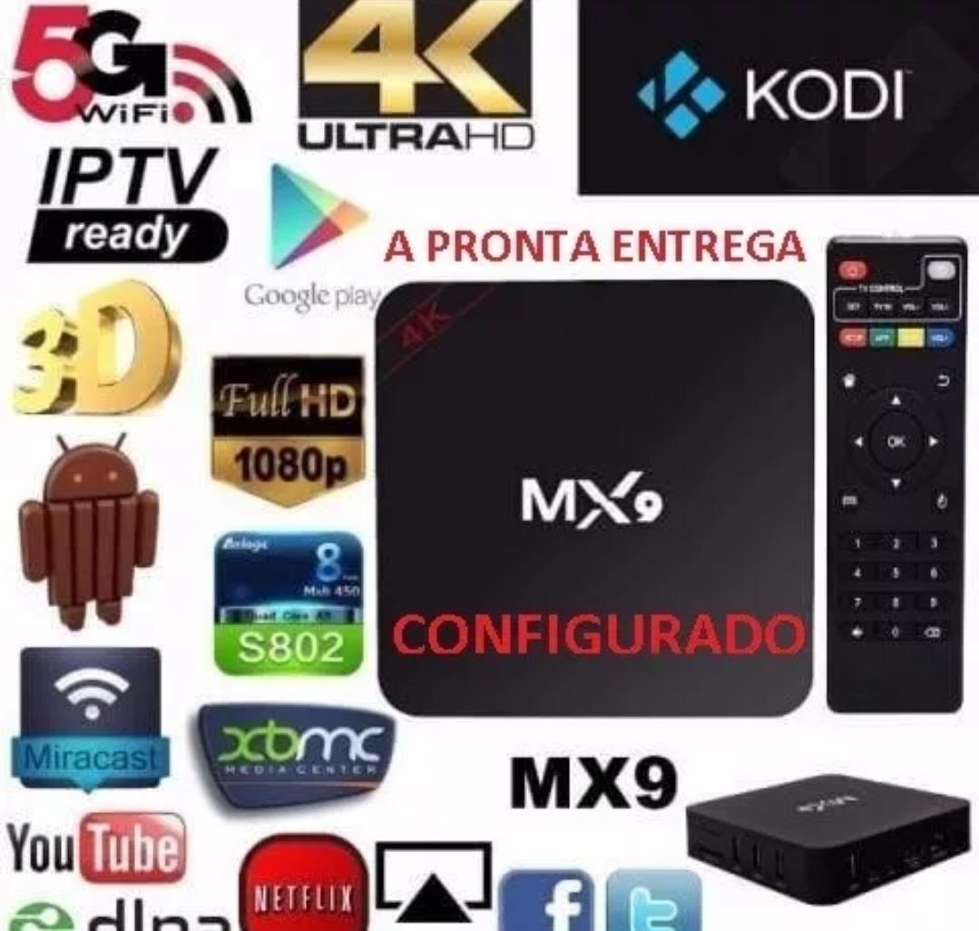 Tv Box Mx9 Android 4k Iptv Já Atualizada Com Canais