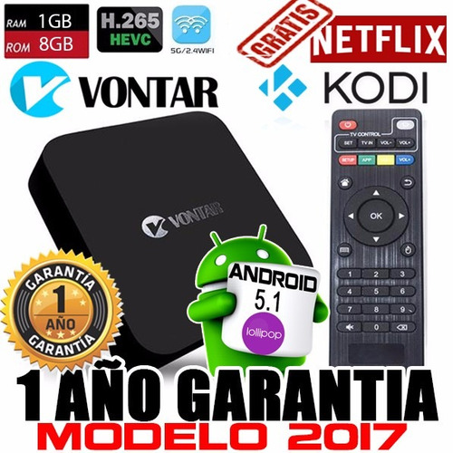 tv box vontar mx-4k quad core android 5.1 1gb ram 8gb memori
