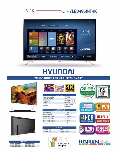 tv hyundai 4k 49 pul android 5.1 smart tv + wall bracket