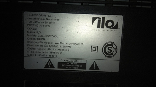 tv ilo 46  - led46cc2000u - partes