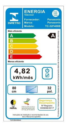 tv led 32  panasonic tc-32f400b hd com 1 usb