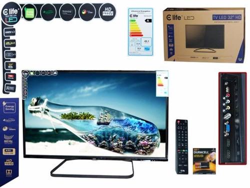 tv led 32 pulgadas  marca electric life + control + pilas