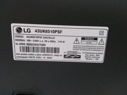tv lg 43  43uk6510psf com defeito. tela quebrada