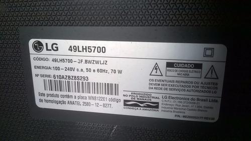 tv lg 49' lh5700 full hd- wi-fi- com tela (display) quebrado