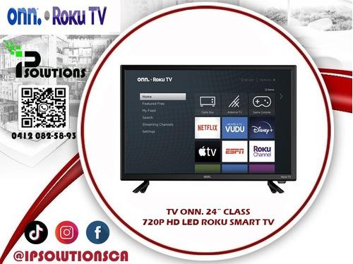 tv onn. 24´´class 720p hd led roku smart tv ip