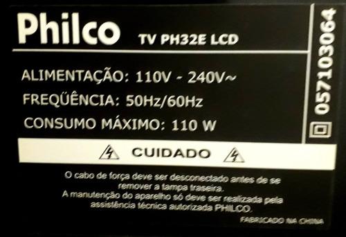 tv philco 32  lcd. defeito de estab. na tela. c/ cntrl e n.f