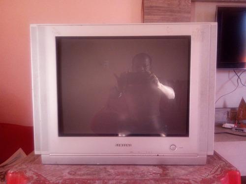 tv samsung 21  controle remoto, tela plana a cores.