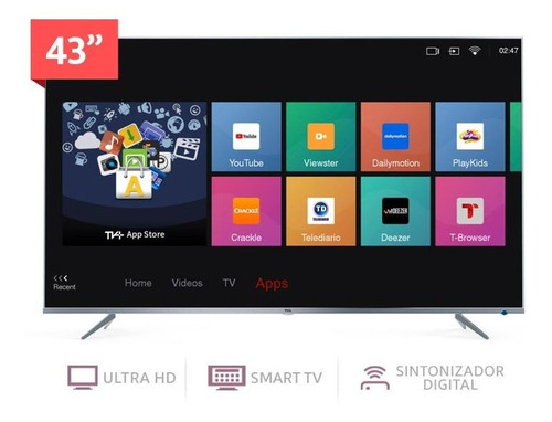 tv tcl 43p8m 4k smart android 9.0 control de voz bluethoot