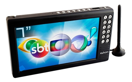 tv tela 7 hd portátil recarregável digital sd/av/usb/fm/mp3