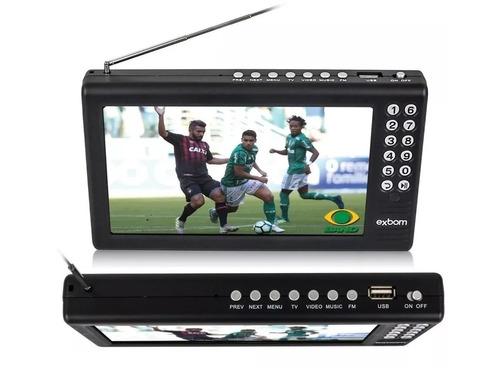 tv tela 7 hd portátil recarregável usb rádio mp3 av digital
