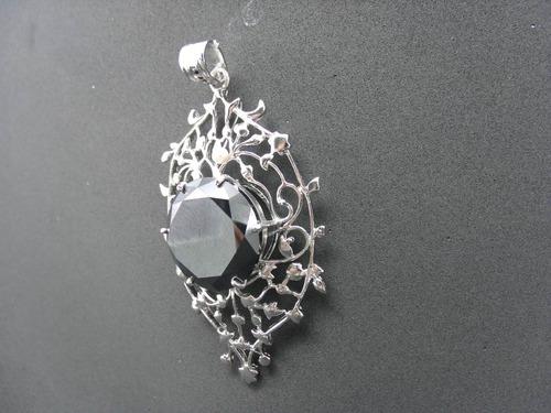 tw pingente diamante negro moissonite 144.5cts prata 925