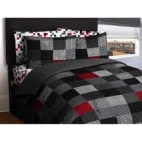 twin rojo negro gris loft living geo bloques de cama comple