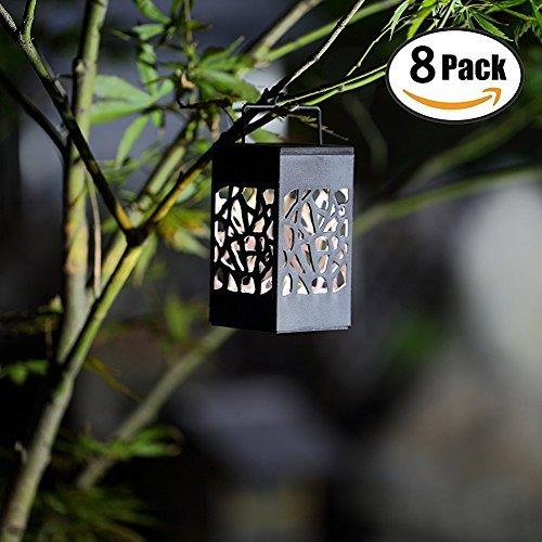 twinkle star 8 piezas colgando linterna solar con mango para