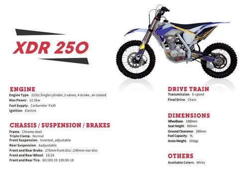 txm xdr 230cc  motor tec.honda crf230 enduro, calle off road