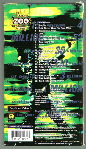 u2 zoo tv live from sidney vhs importado 1994 polygram idd