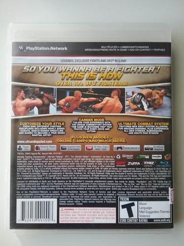 ufc udisputed 2010 ps3 mídia física original perfeito