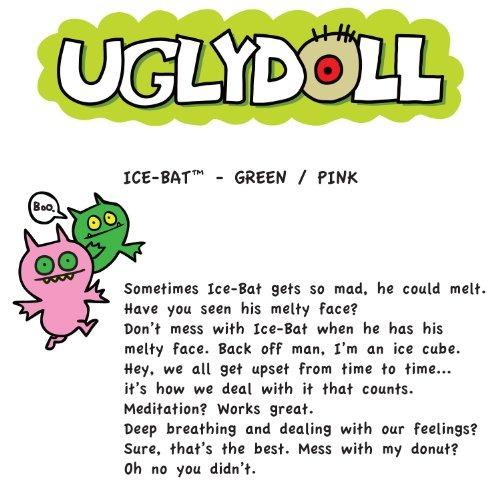 uglydoll double trouble ice bat 14.25 felpa, rosa /verde
