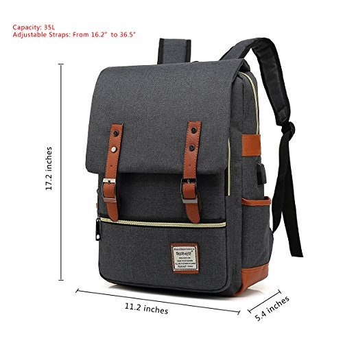 ugrace mochila para portatil vintage con puerto de carga usb