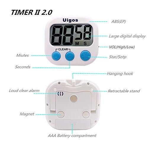 uigos digital temporizador de cocina ii 2.0, dígitos grande