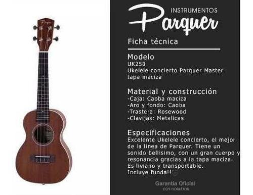 ukelele concierto parquer tapa caoba maciza con funda uk250