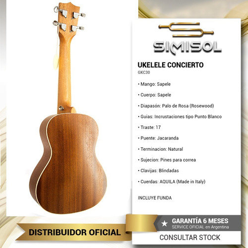 ukelele concierto profesional mod 30 aquila + funda + envio