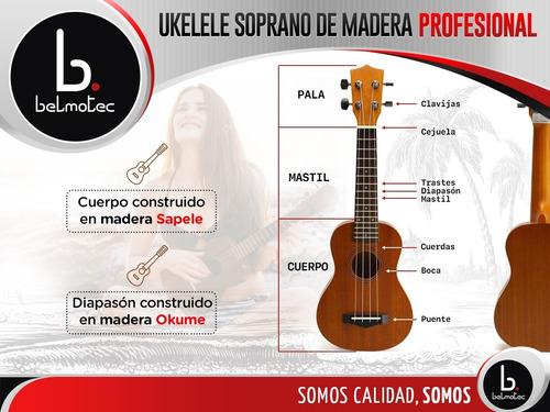 ukelele de madera soprano profesional con funda 2019