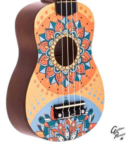 ukelele electroacustico soprano diseño mandala cuerdas aquila combo + funda + pua + garantia oficial bamboo