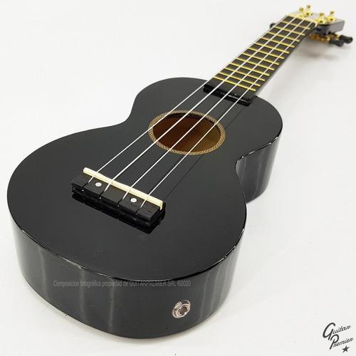 ukelele electroacustico soprano superior negro + funda pua