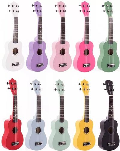 ukelele soprano de madera con funda ukulele varios colores