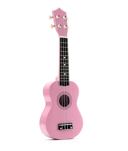 ukelele soprano midiplus de madera con funda color rosa