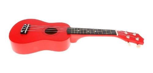 ukelele soprano midiplus de madera con funda rojo promo