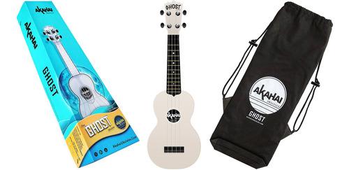 ukulele akahai soprano com capa ghost - tiki bone