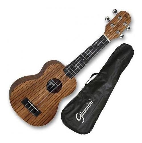 ukulele giannini soprano zebrado c/capa guk21-zw