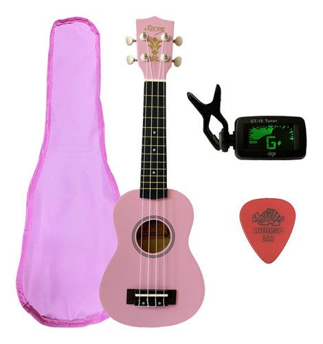 ukulele rosa seven soprano suk-07 pi c/ capa e afinador