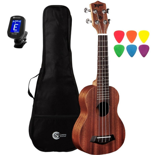 ukulele soprano tagima 21k mahogany + capa e afinador slim