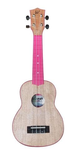 ukulele winner soprano 21 flamed okume pink rosa c/ capa