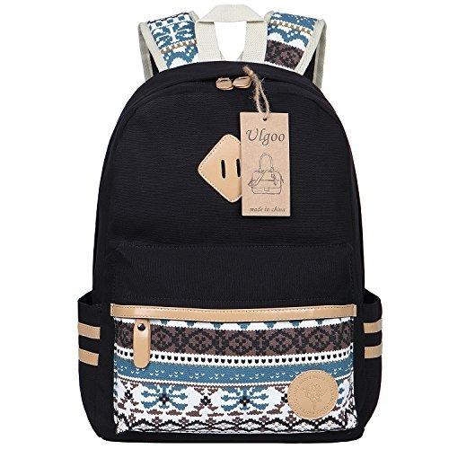 57034149918d Ulgoo Canvas Casual School Backpacks Teen Girls Bookbags S ...