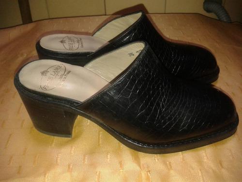ultima moda!! zuecos importados de cuero trabajado talle 35